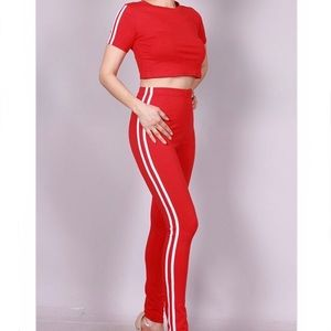 Pants - Red & White Joggers